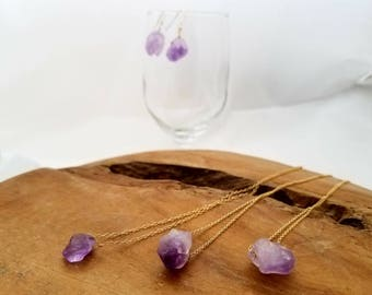 Raw Crystal Necklace, Raw Amethyst Necklace, February Birthstone Neckclace, February Birthstone Pendant, Raw Stone Necklace