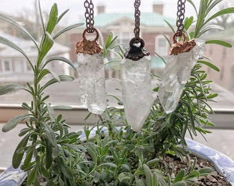 Raw Clear Crystal Quartz Point Necklace Electroformed Pendant Gift
