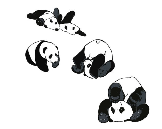 Roll With It - black and white panda art print for kid's room