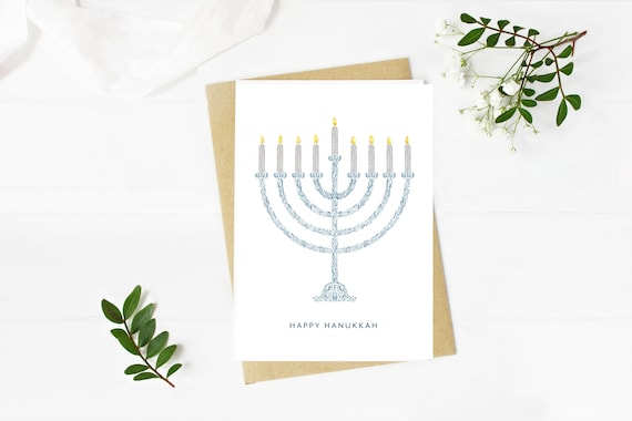 Floral Menorah digital download, print at home Hanukkah greeting card, blank inside
