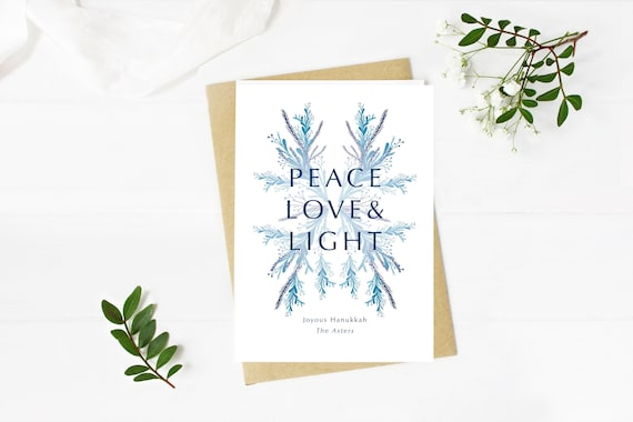Peace, Love, & Light Hanukkah greeting card digital download