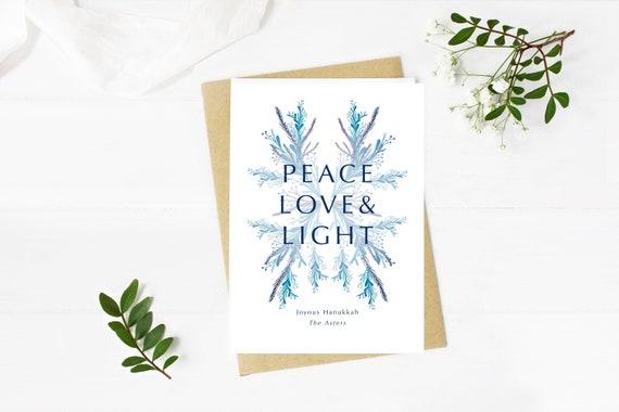 Peace, Love, & Light Hanukkah greeting card digital download