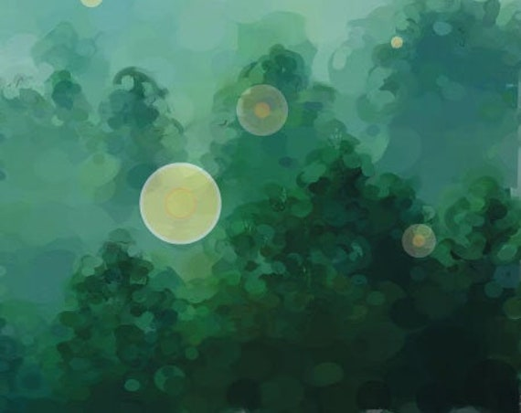 Fireflies enchanted forest art print
