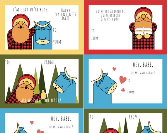Paul Bunyan and Babe Valentine's Day Cards Print at home - 8 cards to a sheet