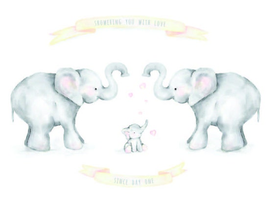 Elephants with baby shower love - nursery and new mom art print