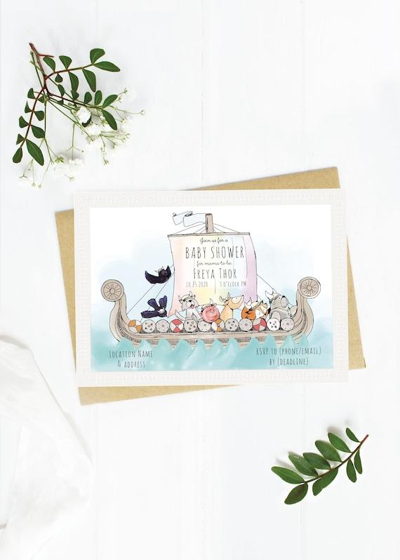 Viking Ship Baby Shower Digital Download Customizable Invitation