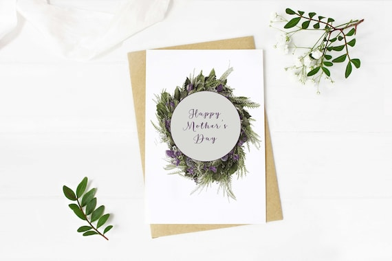 Digital Download Mother's Day Card - print at home, pretty flower wreath blank inside