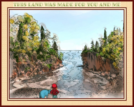 Watercolor Print of landscape and Lake Superior North Shore View with Paul Bunyan and Babe