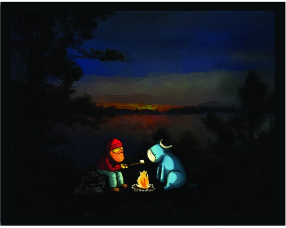 Paul Bunyan and Babe with Camp Fire and Marshmallows art print for kids and cabins