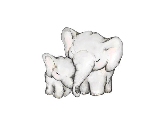 Mother and Baby Elephant hug print