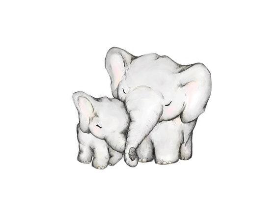 Mother and Baby Elephant hug print