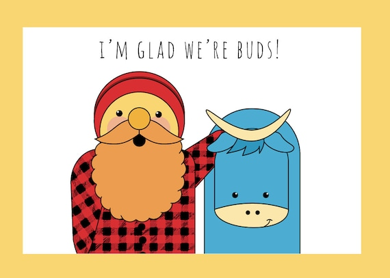 Paul and Babe Buddies Valentine's Day Card print at home digital download