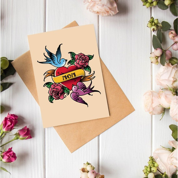 Digital Download Mother's Day Card - print at home, blank inside, cool mom tattoo