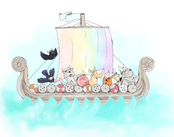 Vikings Set Sail Viking Animal Nursery Art Print