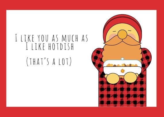 I Like You Like Hotdish Paul Bunyan Valentine's Day card print at home digital download