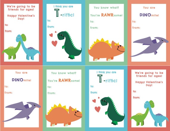 Dinosaur Valentine's Day Cards, print at home, digital download