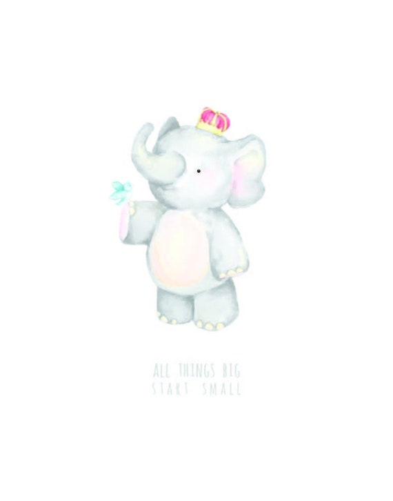 All Things Big - King Elephant baby nursery watercolor print with bird