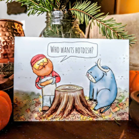 Who wants hot dish? Paul Bunyan and Babe the Blue Ox Minnesota holiday greeting cards