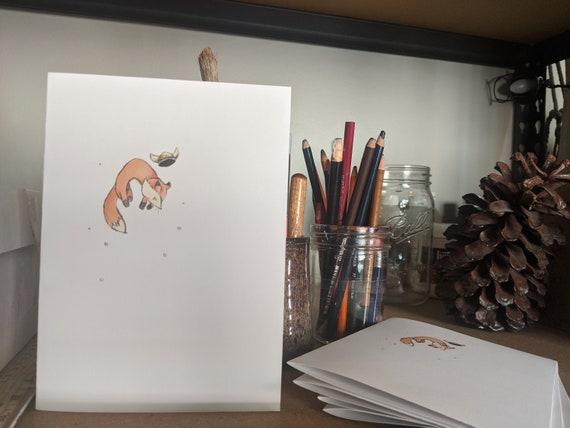 Viking Fox blank inside greeting cards - fox watercolor custom art print cards