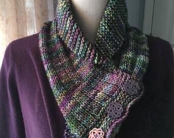 Shawl collar cowl or neckwarmer, hand-knit scarf or cowl