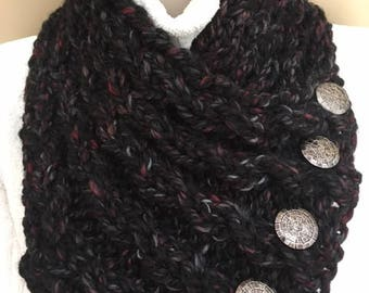 chunky handknit cowl with 5 decorative buttons
