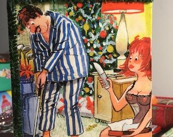Funny Vintage Decoupaged Playboy Cartoon Card