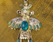 Native American Kachina Pendant Necklace, Navajo Hopi Zuni Faux Turquoise Kachina Doll, Vintage w Chain, Southwestern Men 39 s Women 39 s Jewelry