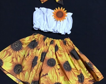 ce60cf721292 Little Miss Sunshine SUNFLOWERS Skirt. Easter Outfit. Spring Skirt set.  Sunflower baby Outfit.