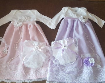 6024b5a1a7dc Newborn Baby Gown. Baby Girl Coming Home Outfit .Hospital Outfit. Pink Baby  Dress. Baby Clothes. Take home outfit .