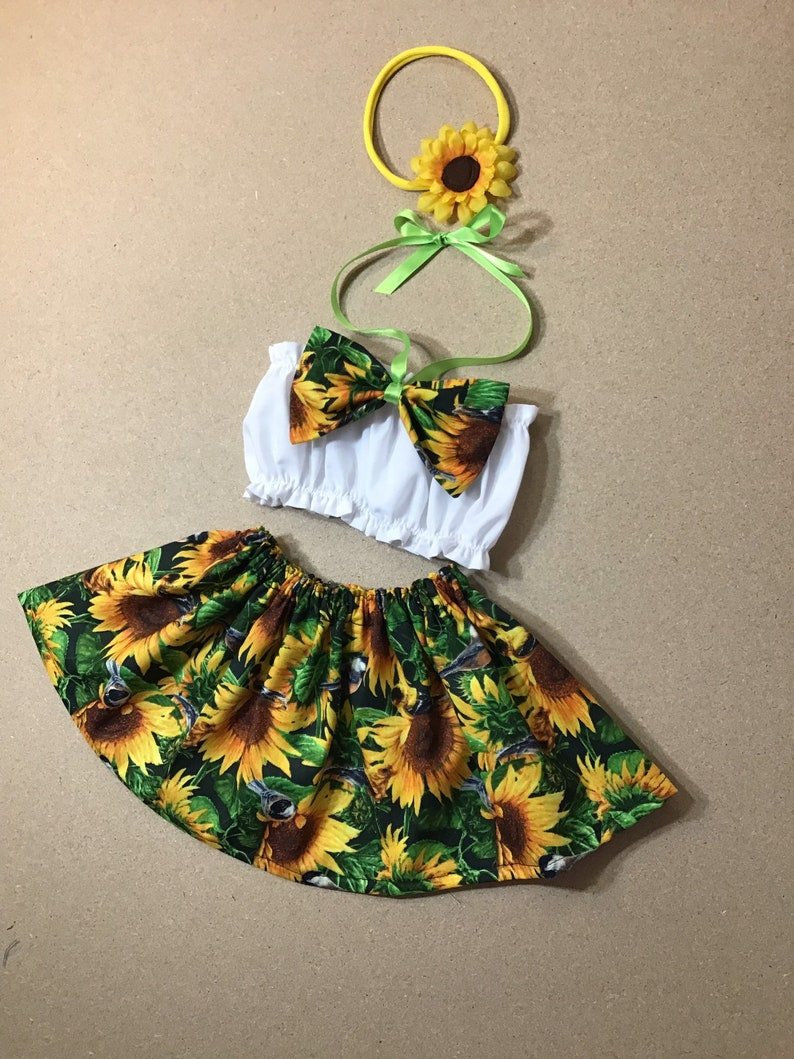Sunflower baby Top Little Miss Sunshine Easter Outfit All Sizes SUNFLOWERS Crop Top ONLY