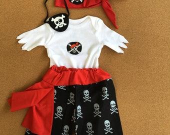 4 PIECES. Pirate Costume. Halloween Baby Costume.