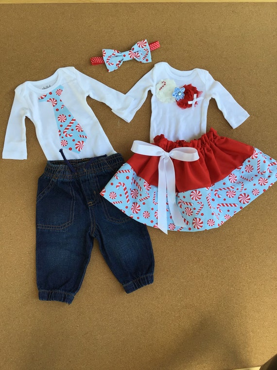 a8aca91e5ac4 5 PIECES. Boy and Girl TWIN Outfits. Boy and Girl Christmas