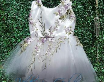 White dress with purple flowers with crictal Swarowski