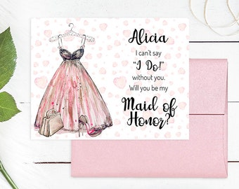 WILL YOU BE my Maid of Honor, Honour, Bridesmaid, Bridesmaid Card, Will You Be My Bridesmaid Card, Watercolor, Bridesmaid Proposal, WYB1