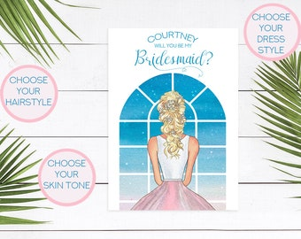 WILL YOU BE my Bridesmaid, Maid of Honor,  Bridesmaid Card, Will You Be My Bridesmaid Card, Watercolor, Bridesmaid Proposal, Blue, WYB1