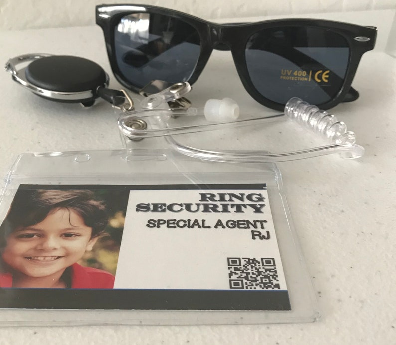 FREE SHIPPING! earbud earpiece badge and glasses