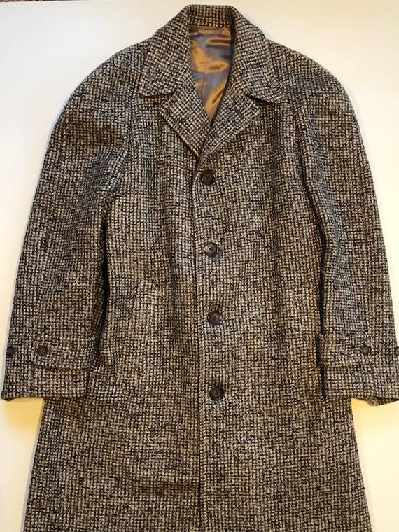 Men's vintage brown tweed over coat, men's jacket