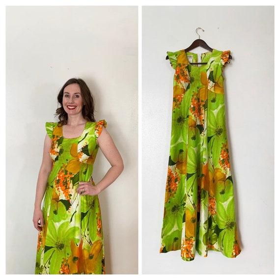 Vintage Hawaiian Dress 1960/'s  Cotton  Size Medium Maxi dress Hawaiian Luau