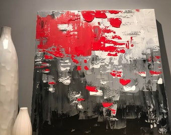 Happy red, abstract canvas