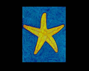 ACEO Starfish Print, ACEO limited edition, ACEO, aceo print, aceo art card, aceo painting, aceo starfish, aceo ocean, artist trading card
