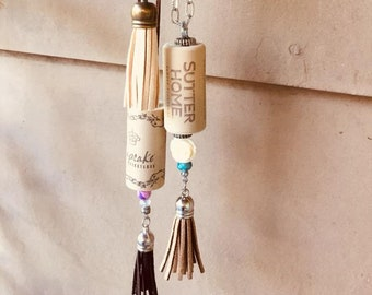 Wine cork Necklace with tassel