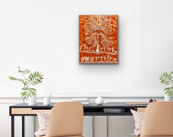 Warli Art - Tree of Life and Villagers - 16x20