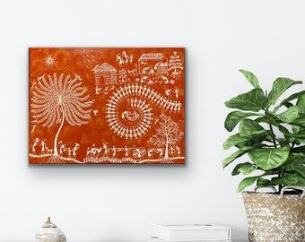 Warli Art - Tree of life Tarpa and Warli Village - 18x24