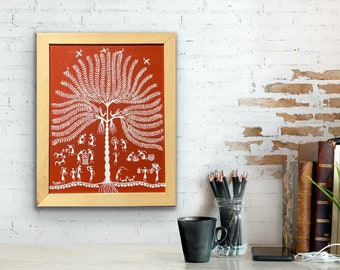 Warli Art - Tree of life and Villagers - 14x18 Framed