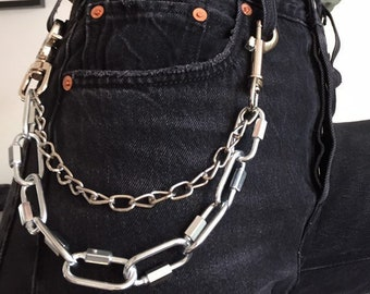 055bf477f Industrial Silver Belt Clip   Wallet Hip Chain with clasps ~ goth metal  alternative edgy grunge 80s 90s