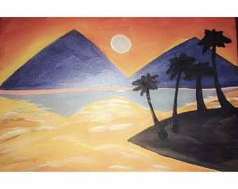 Blue pyramids hand painted canvas