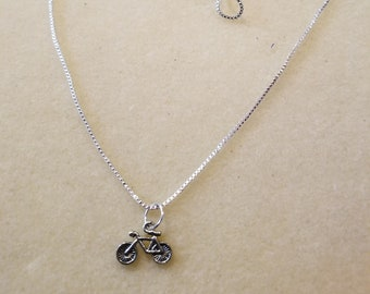 Child's Silver Necklace with Bicycle Charm