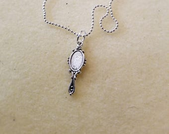 Childs Silver Chain Necklace with Mirror Charm