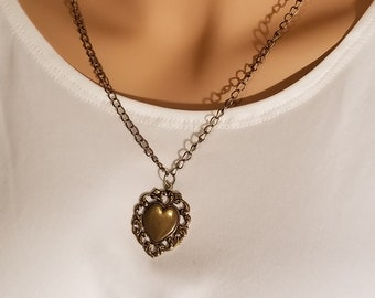 Antique Gold Heart Charm Necklace