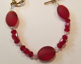 Red bead and Crystal Bracelet